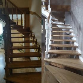 Renowacja schodow dębowych i malowanie tralek na bialo